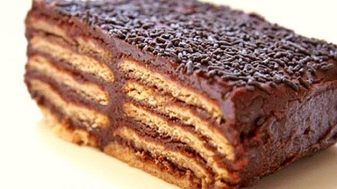 Tarta de galletas maría con chocolate